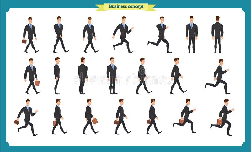 Collection set of Walking and running businessman. Walk, run, active. royalty free illustration
