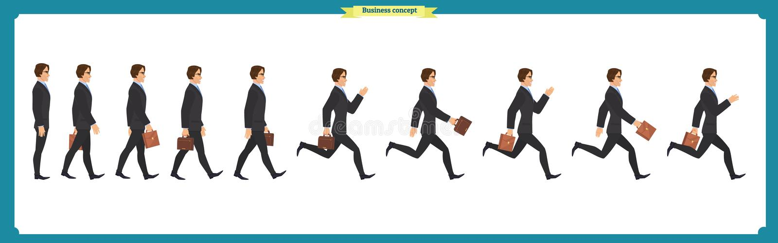 Collection set of Walking and running businessman. Walk, run, active. stock illustration