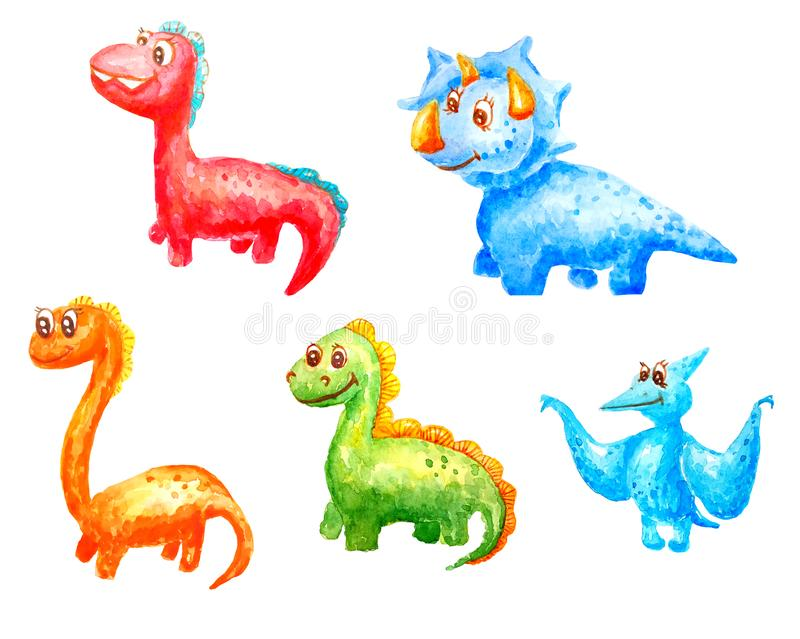 Collection of set of watercolor cartoons of kind children fantastic dinosaurs with big eyes and with a smile vector illustration