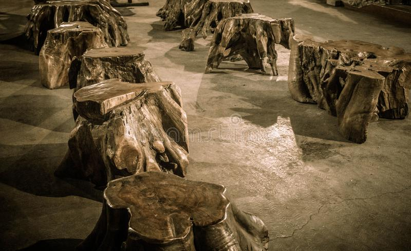A collection set of wooden root bench traditional hand made royalty free stock image