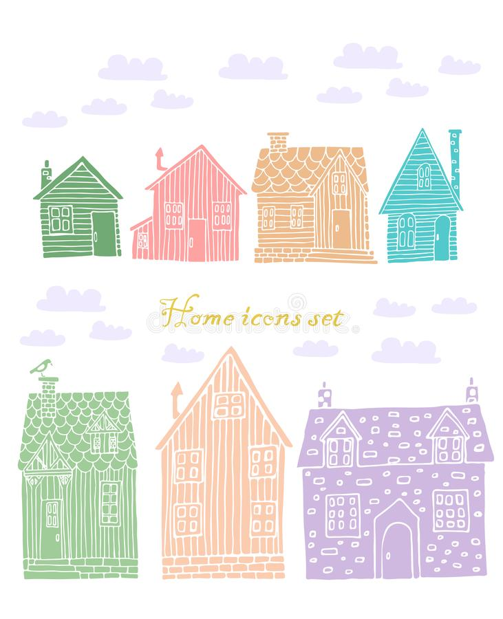 Collection of seven colored houses vector image royalty free illustration