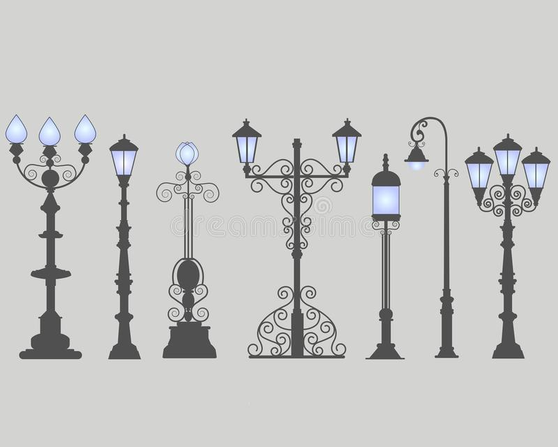 Collection of seven street lamps, isolated gray background. royalty free illustration