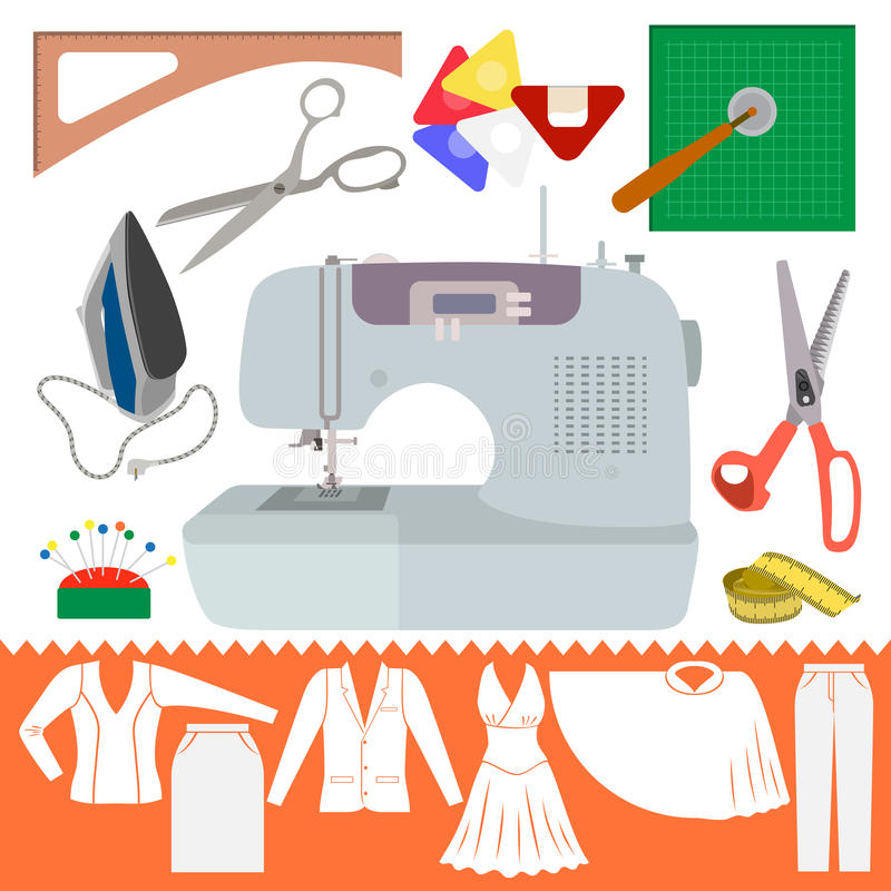 Collection of Sewing Items with Clothes Sihiouette royalty free illustration