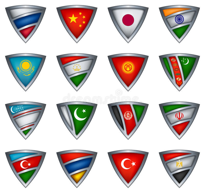 Download Collection Shield With Flag Of The Asia Stock Vector - Image: 21574229