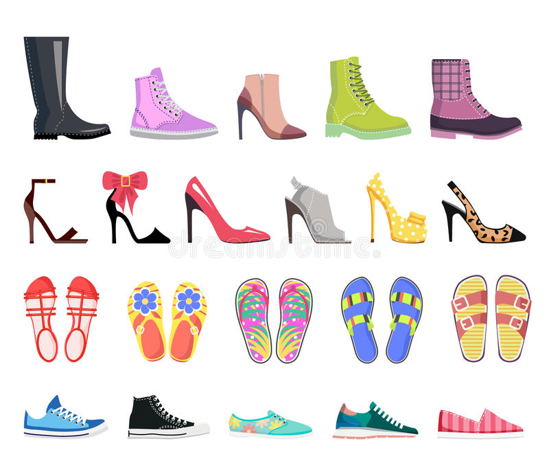 Collection of Shoes Types. Modern Female Footwear. Collection of shoes types icons. Modern colourful female footwear. Casual, classic, platform, heel, ballet royalty free illustration