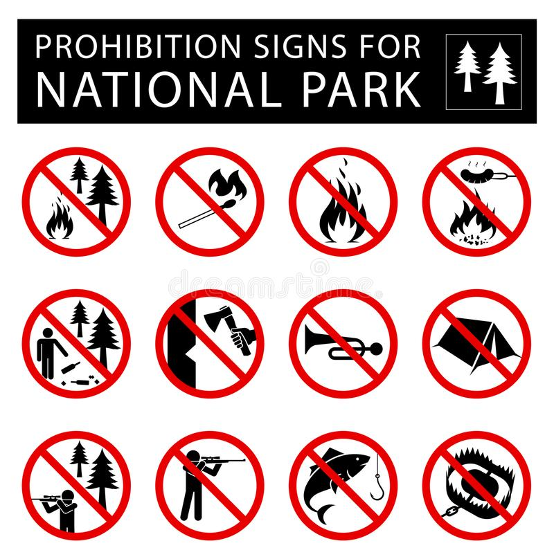 Set of prohibition signs for national park. royalty free illustration