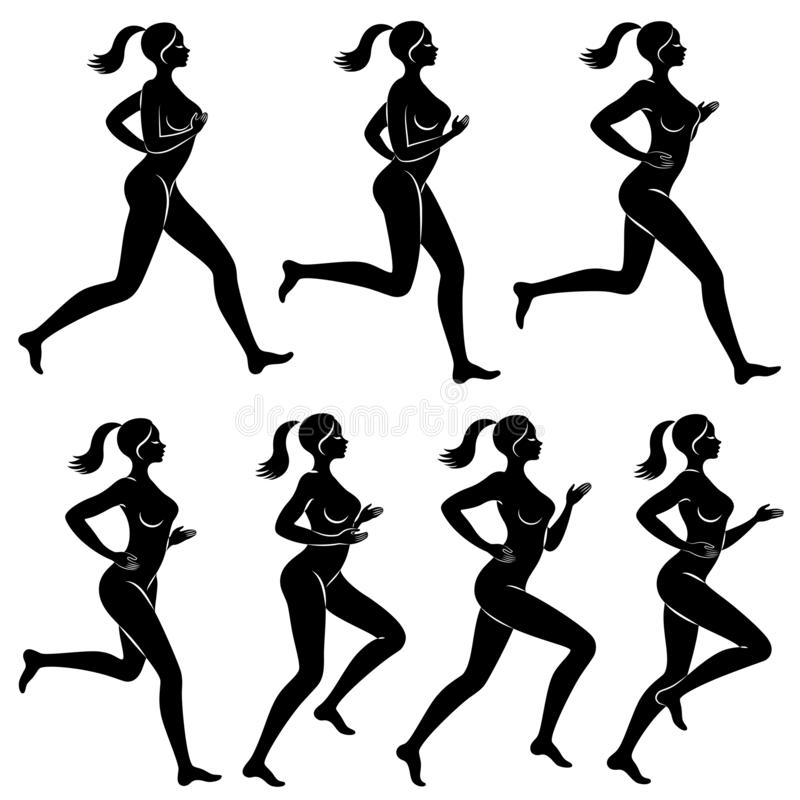 Collection. Silhouette of slender lady. The girl is running. The woman goes in for sports, strengthens health. Vector royalty free illustration