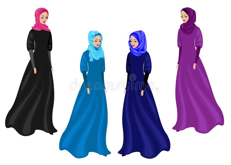 Collection. Silhouette of a sweet lady. The girl wears traditional Muslim women`s clothing, hijab. Young and beautiful woman. stock illustration