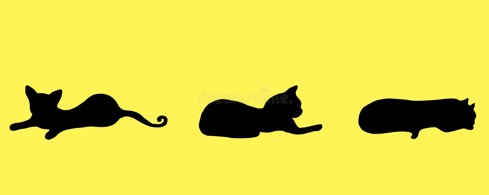 Collection silhouette three black small, funny, playful kitten, royalty free illustration