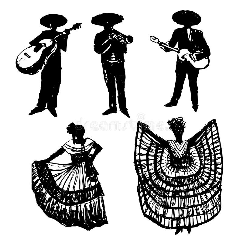 Collection of silhouettes of Mexican musicians with instruments and dancers, hand drawn illustration royalty free illustration