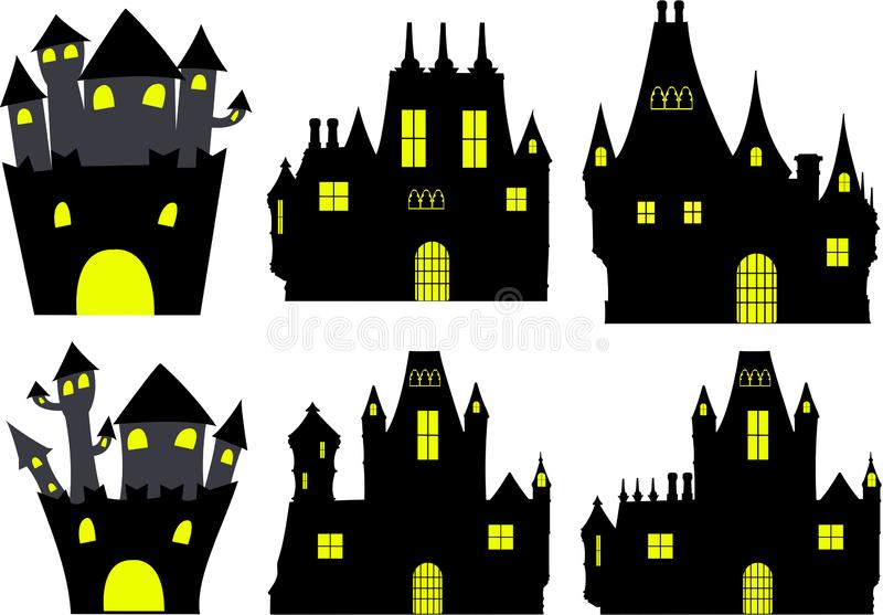 Collection of silouette castles of halloween stock image