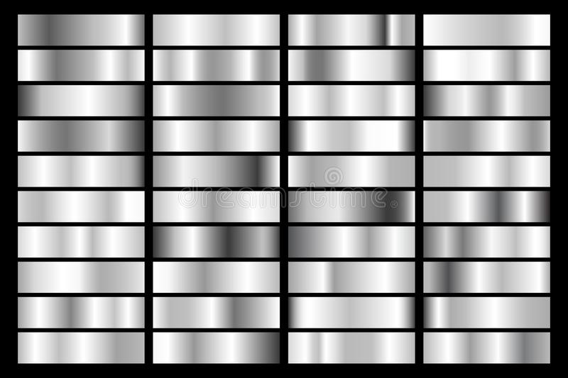 Collection of silver, chrome metallic gradient. Brilliant plates with silver effect. Vector illustration.  stock illustration