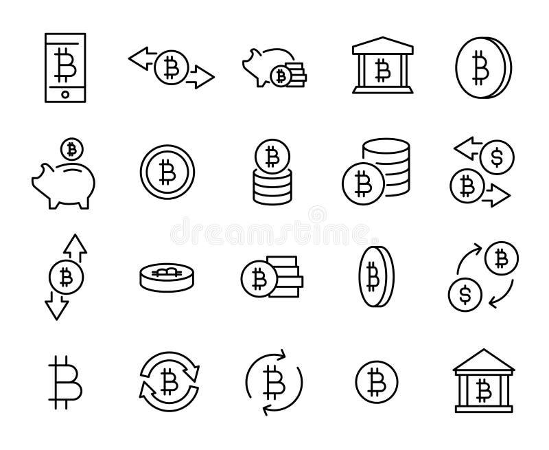 Collection simple de ligne relative icônes de cryptocurrency illustration de vecteur