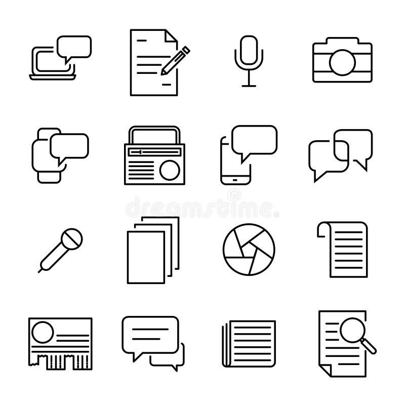 Collection simple de ligne relative icônes de journalisme illustration libre de droits