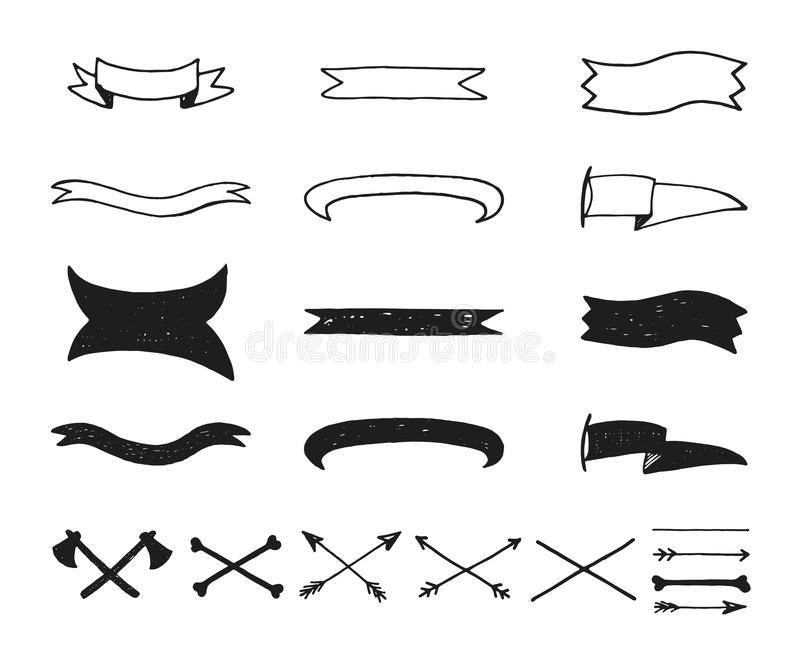 Collection of simple doodles frames, ribbons, tapes vector illustration