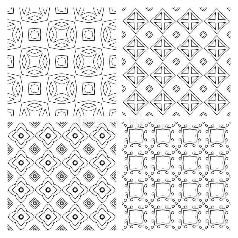 Collection of simple geometric seamless patterns. Black and white. stock illustration
