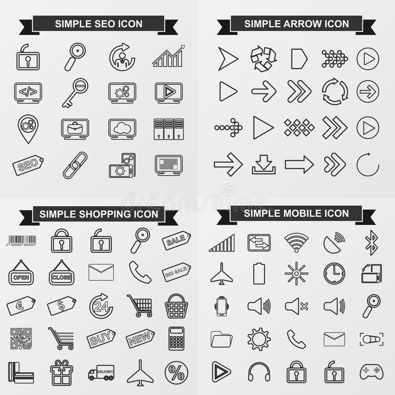 Collection simple vector icons for seo, arrow, shopping, mobile stock illustration