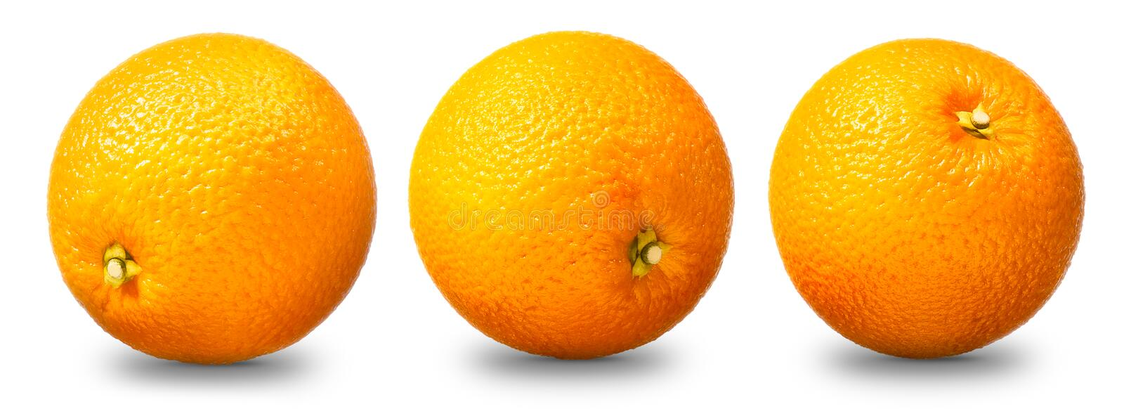Collection of orange fruit isolated on white stock images