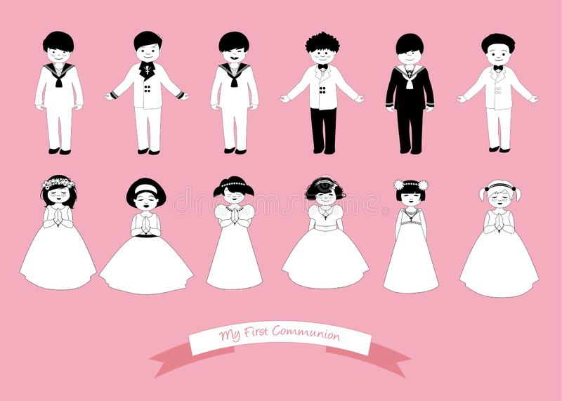 Collection of six children and six girls wearing First Communion clothes stock illustration
