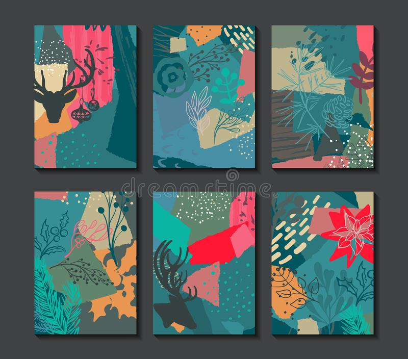 Collection of six colorful vector Christmas cards. vector illustration