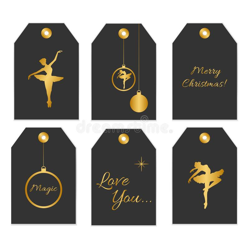 Collection of six cute redy-to-use gift tags. stock illustration