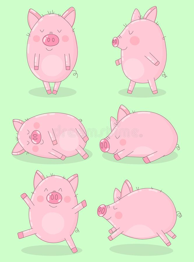 Collection of six funny pigs on a green background. Vector illustration for New Year, Christmas, prints, invitation, flyers, cards royalty free illustration