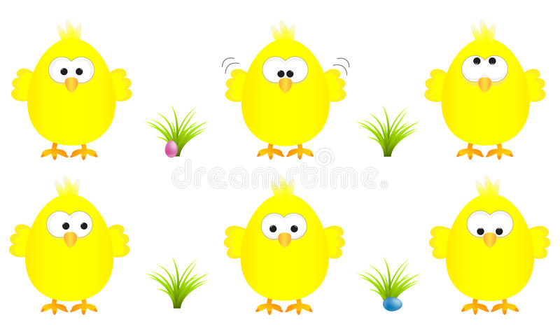 Collection of six funny yellow easter chicks with several expressions, vector illustration royalty free illustration