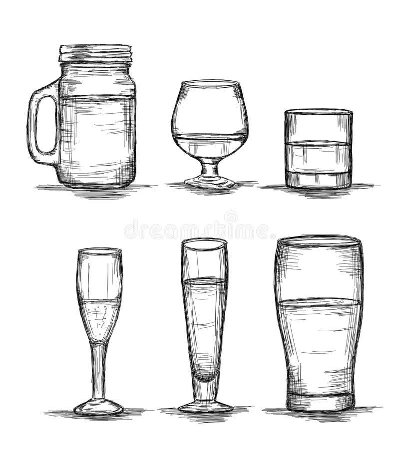 Collection Six Glasses - Mason Jar, Vin, whisky, champagne, bière Vecteur Illustration illustration libre de droits