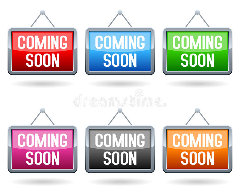 Download Coming Soon Web Buttons stock vector. Illustration of metallic - 30260424