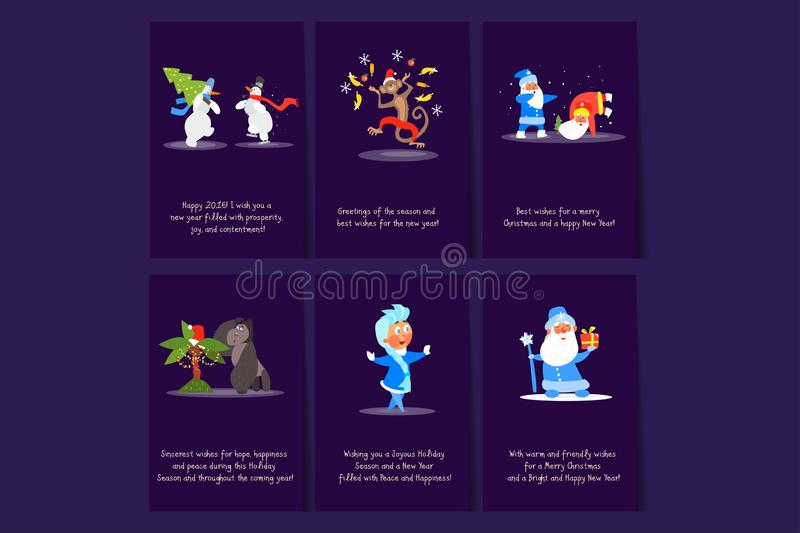 Set of Merry Christmas and Happy New Year flat vector cards. Colorful postcards with snowmen, monkey, Santa Clauses royalty free illustration