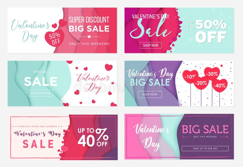 Collection of six sale banner templates to Valentine`s Day. Special offers for lovers. Abstract wavy shapes background vector illustration
