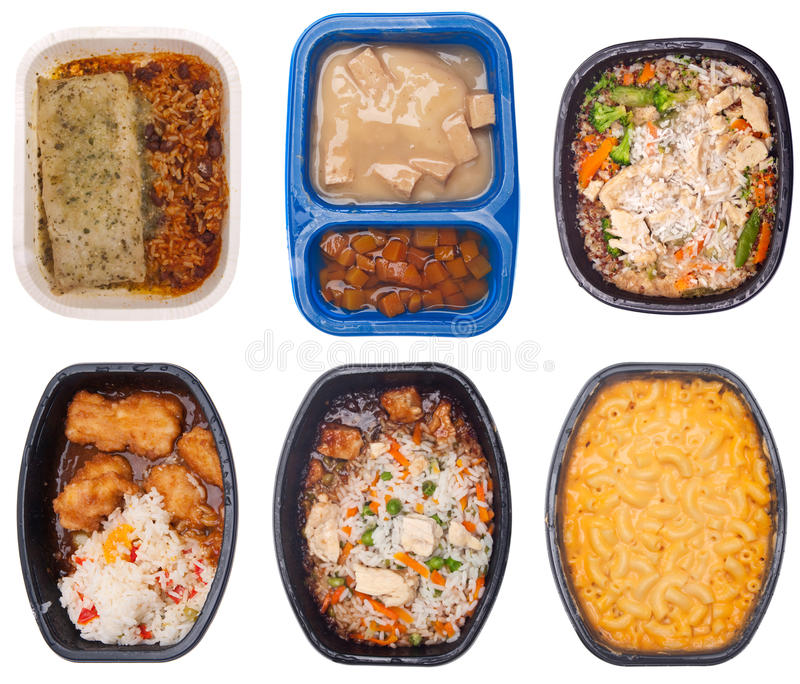 Collection of Six TV Dinners royalty free stock photo