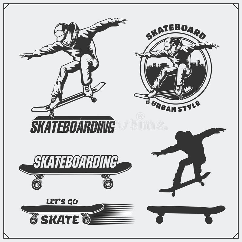 Collection of skateboarding labels, emblems, badges and design elements. Silhouette of a skateboarder. Black and white illustration royalty free illustration