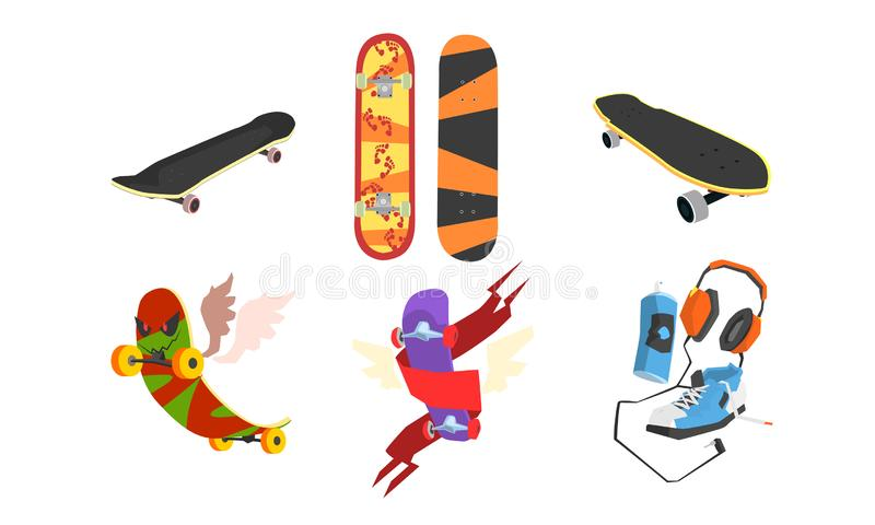 Collection of Skateboards, Active Lifestyle, Extreme Sport Equipment Vector Illustration vector illustration