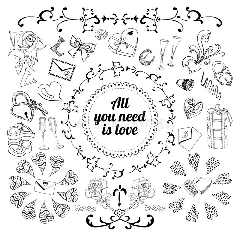 Collection with sketch elements for happy Valentine`s day. Ink objects and symbols. royalty free illustration