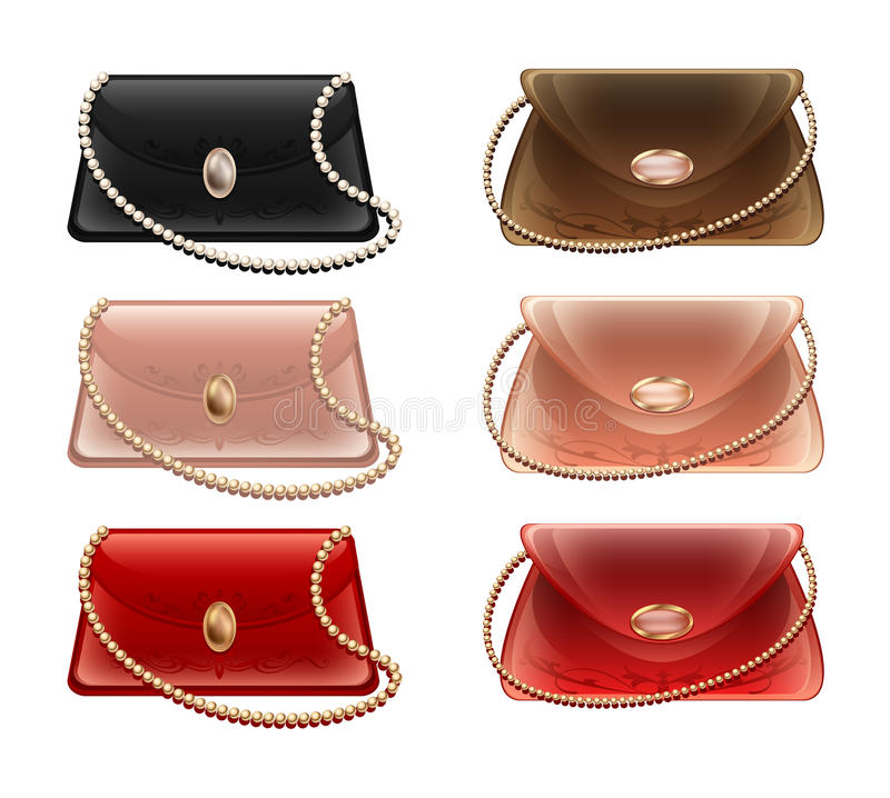 A collection of small theater handbags and purses in different colors. Lady's beautiful lacquered handbag with small pearl chain White, red and blue purse and royalty free illustration