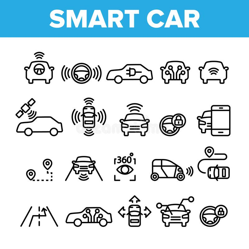 Collection Smart Car Elements Icons Set Vector royalty free illustration