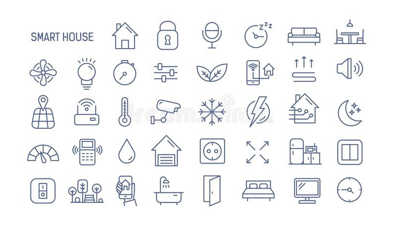 Collection of smart house linear icons - control of lighting, heating, air conditioning. Set of home automation and stock illustration