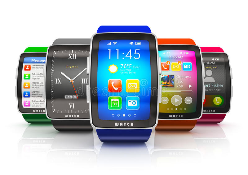 Collection of smart watches. Creative business mobility and modern mobile wearable device technology concept: collection of color digital smart watches or clocks stock illustration