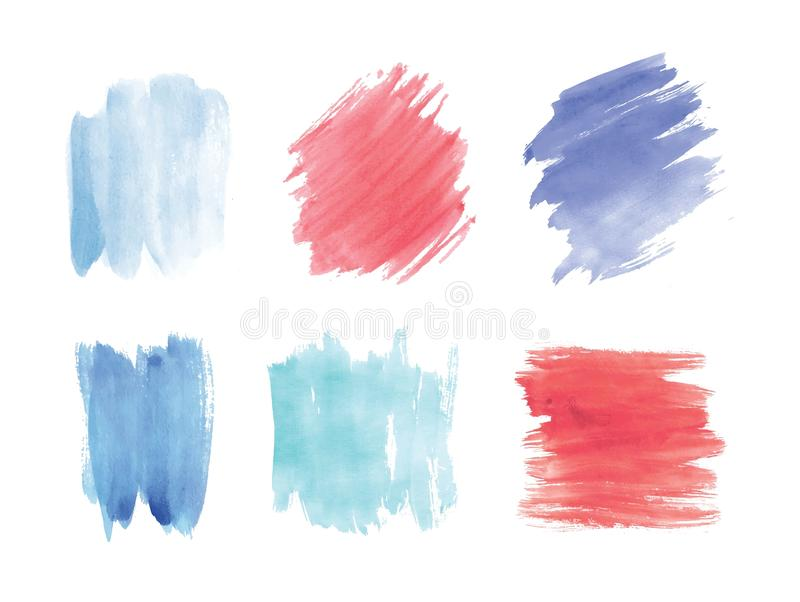 Collection of smears or blots hand painted with watercolor isolated on white background. Bundle of artistic paint traces stock illustration