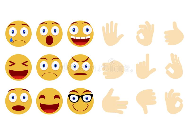 Collection of smiley and different faces. Emoticon, emoji icons on white background. Human hand gesturing. Vector illustration. Collection of smiley and vector illustration