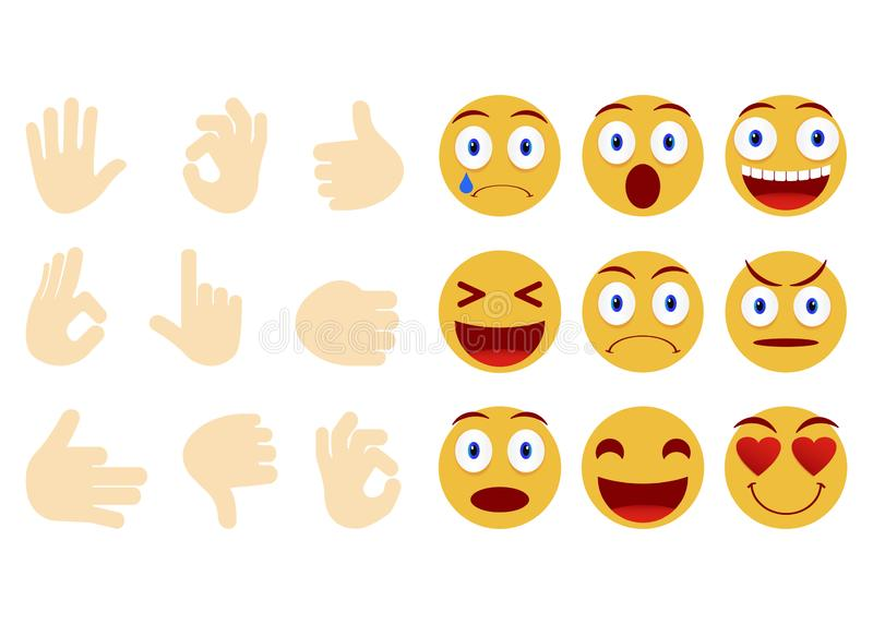 Collection of smiley and different faces. Emoticon, emoji icons on white background. Human hand gesturing. Vector illustration. Collection of smiley and stock illustration