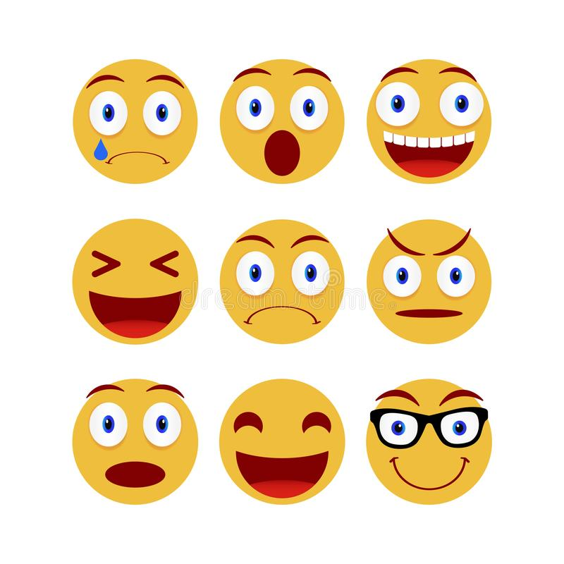 Collection of smiley and different faces. Emoticon, emoji icons on white background. Vector illustration. Collection of smiley and different faces. Emoticon royalty free illustration