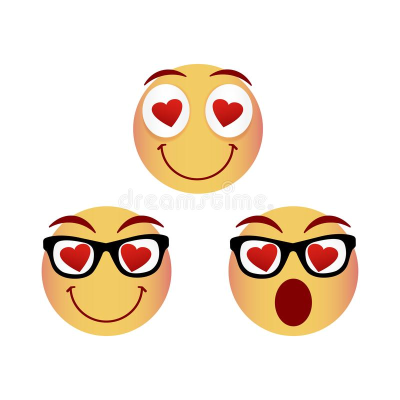 Collection of smiley faces. Emoticon, emoji icons on white background. Vector illustration. Collection of smiley faces. Emoticon, emoji icons on white background stock illustration