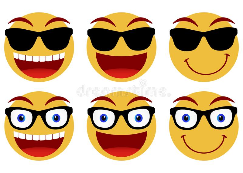 Collection of smiley faces. Emoticon, emoji icons on white background. Vector illustration. Collection of smiley faces. Emoticon, emoji icons on white background vector illustration