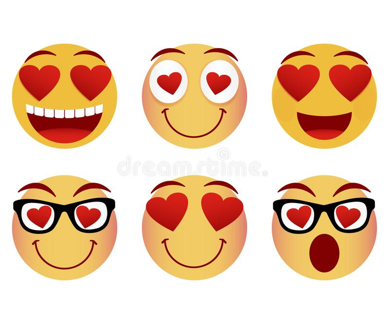 Collection of smiley faces. Emoticon, emoji icons on white background. Vector illustration. Collection of smiley faces. Emoticon, emoji icons on white background royalty free illustration