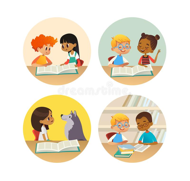 Collection of smiling children reading books and talking to each other at school library. Set of school kids discussing royalty free illustration