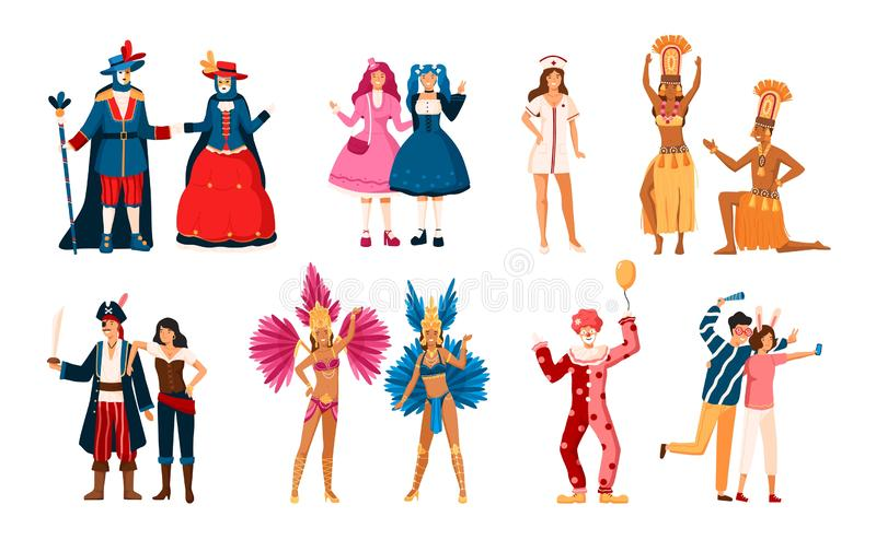 Collection of smiling men and women dressed in various festive costumes for holiday masquerade, Venetian or Brazilian stock illustration