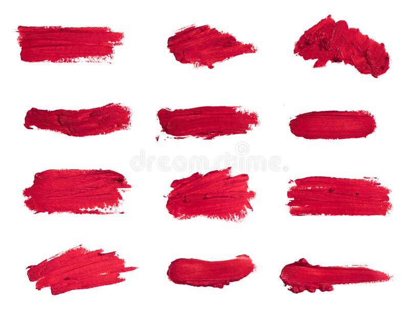 Collection of smudged lipsticks isolated on white.  royalty free stock photos