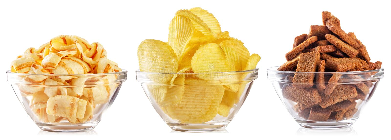 Collection of snacks for beer isolated on white background stock photos